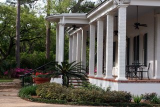 outside wedding venue with historic plantation house and chapel
